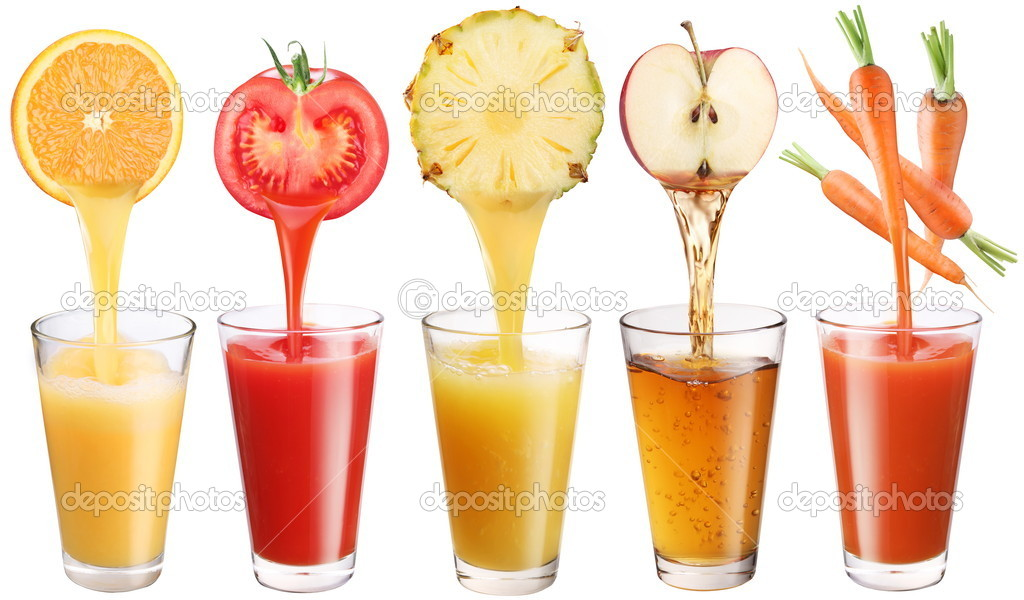 Conceptual image - fresh juice pours from fruits and vegetables in a glass. Photo on a white background.  Foto Stock #5005345