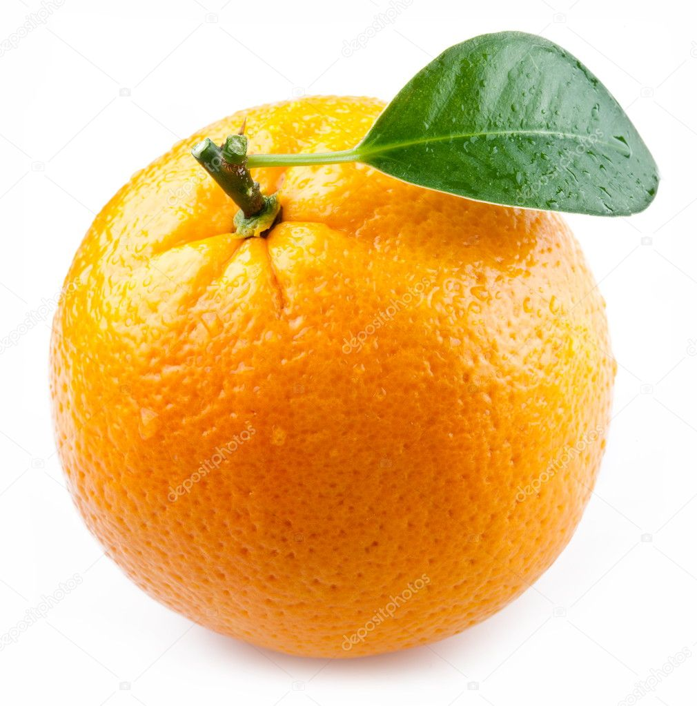 Image of a ripe orange on a white background. — Stock Photo #5007498