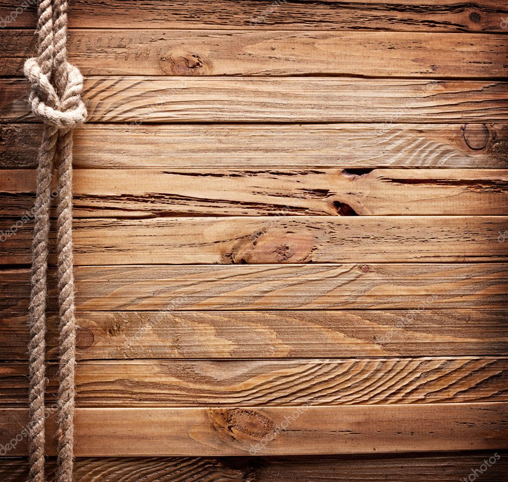 Brown Wooden Board With Rope: Image Of Old Texture Of Wooden Boards With Ship Rope