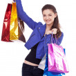 Image of girl with their purchases. Isolated on white background — Stock Photo