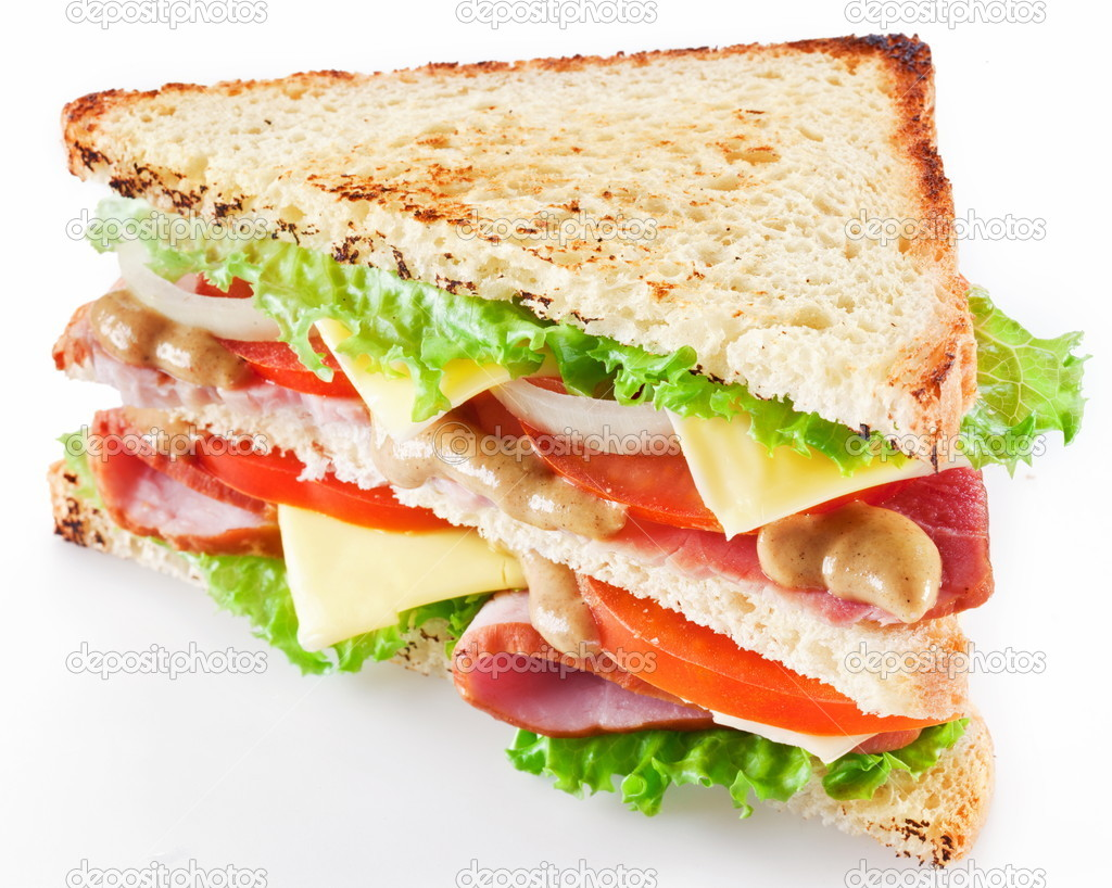 Sandwich with bacon and vegetables on white background   Stock Photo #5347946
