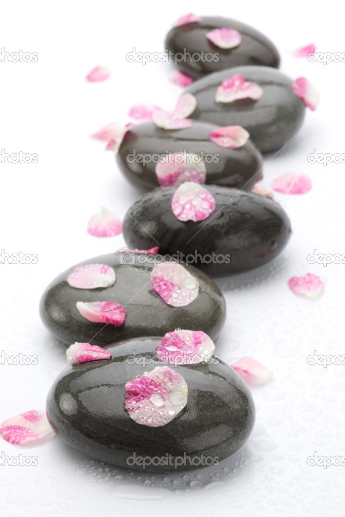 Spa stones with rose petals on white background. — Stock Photo #5348522