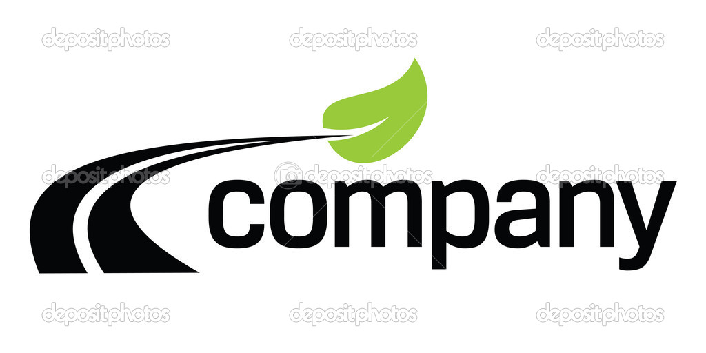 Curvy road and green leaf for eco transport company logo design. — Stock Vector #4800436