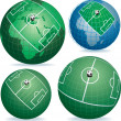 Soccer field on globe — Stock Vector #4152945
