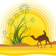 Oasis in sahara - Stock Vector