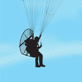 Paraglider and paramotor — Stock Vector