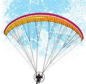 Parachutist flight — Stock Vector