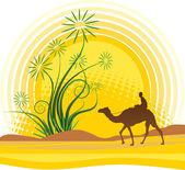 Oasis in sahara — Stock Vector