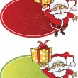 Royalty-Free Stock Vector Image: Cheerful Santa Claus giving a Christmas gift box