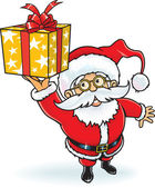 陽気なサンタ クロース クリスマス ギフト ボックスを与える — ストックベクタ