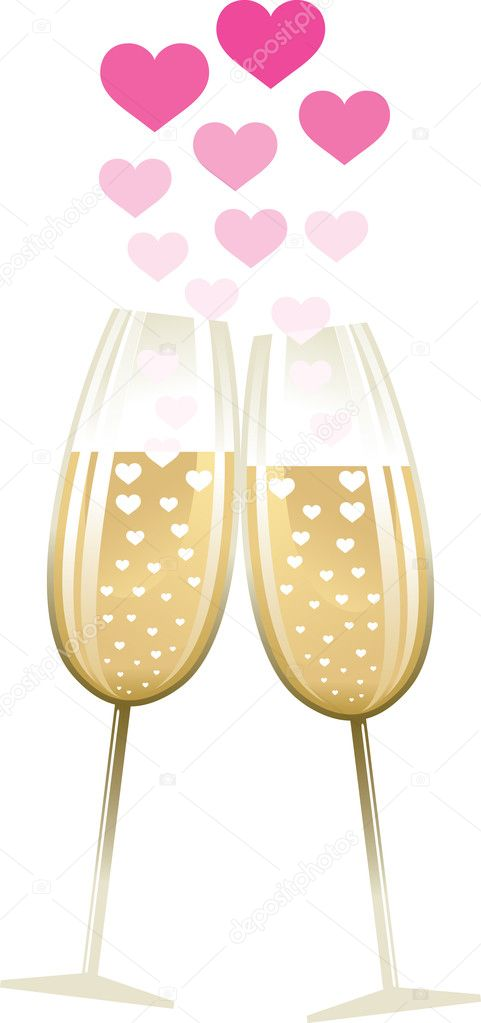 Two glasses with heart illustration — Stock Vector #4174490
