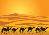 Sahara desert and camels — Stock Vector