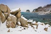 Stones in the snow — Stock Photo