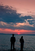 Pair had against the sunset — Stock Photo