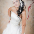 Mysterious bride is in white — Stock Photo
