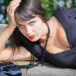 Young brunette girl resting — Stock Photo #4383881