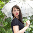 Sexy brunette girl under the umbrella — Stock Photo #4383891