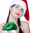 Girl with Christmas gift — Foto de Stock