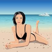 Girl in beach — Stock Vector