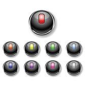 Una serie di pulsanti rotondi — Vettoriale Stock