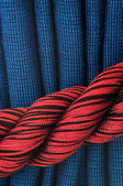 Curtain in red and blue — Stock Photo