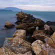 Evening rocky seascape - Stock Photo
