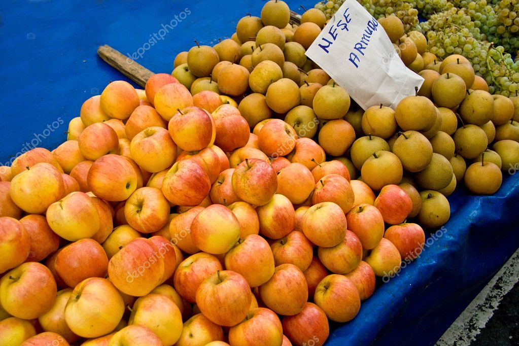 Fresh Organic Apple and Oak Pear At A Street Market In Istanbul, Turkey.  Carsamba Fatih Pazari (Bazaar)  Stock Photo #4177711