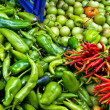 Organic Fresh Ripe Peppers and Tomatoes At A Street Market In Is — Stock Photo