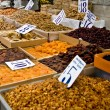 Organic Different Types Of Nuts and Dried Fruits At A Street Mar — Stock Photo