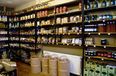 Organic Spices On Shelves In A Spice Market — Stock Photo
