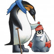 Emperor penguin c the child a penguin. - Stock Photo