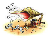 Gramophone plays music for fishes. — Stock Photo