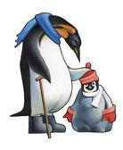 Emperor penguin c the child a penguin. — Stock Photo