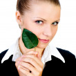 Beautiful girl with a small, green leaf. isolated — Stock Photo #4783327