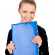 Smiling businesswoman with folder. isolated — Stock Photo