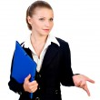 Businesswoman with blue folder. isolated — Stock Photo