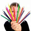 Stock Photo: Businesswomen with colorful pencil. isolated