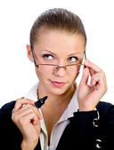 Beatiful businesswomen with glasses isolated — Stock Photo