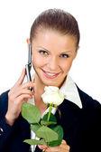 Girl talking over cellphone — Stock Photo