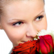 Young women with rose — Stock Photo