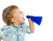 Baby boy shouting through a toy — Stock Photo