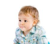 Zadowolony ładny chłopczyk na biały — Zdjęcie stockowe