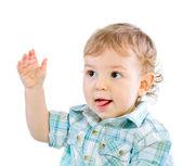 Emocji szczęśliwy dziecko ładny chłopiec nad białym — Zdjęcie stockowe