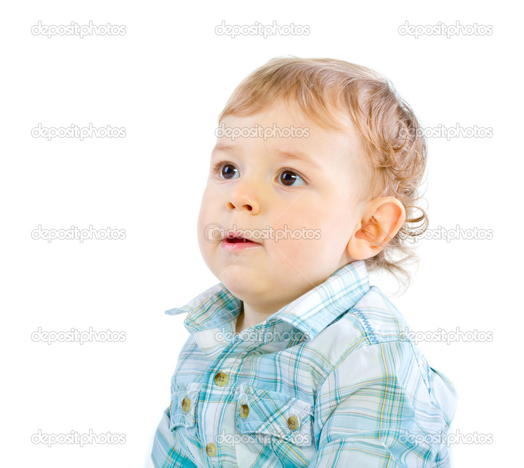 Emotion Happy Cute Baby Boy over white isolated — Stock Photo #4810521