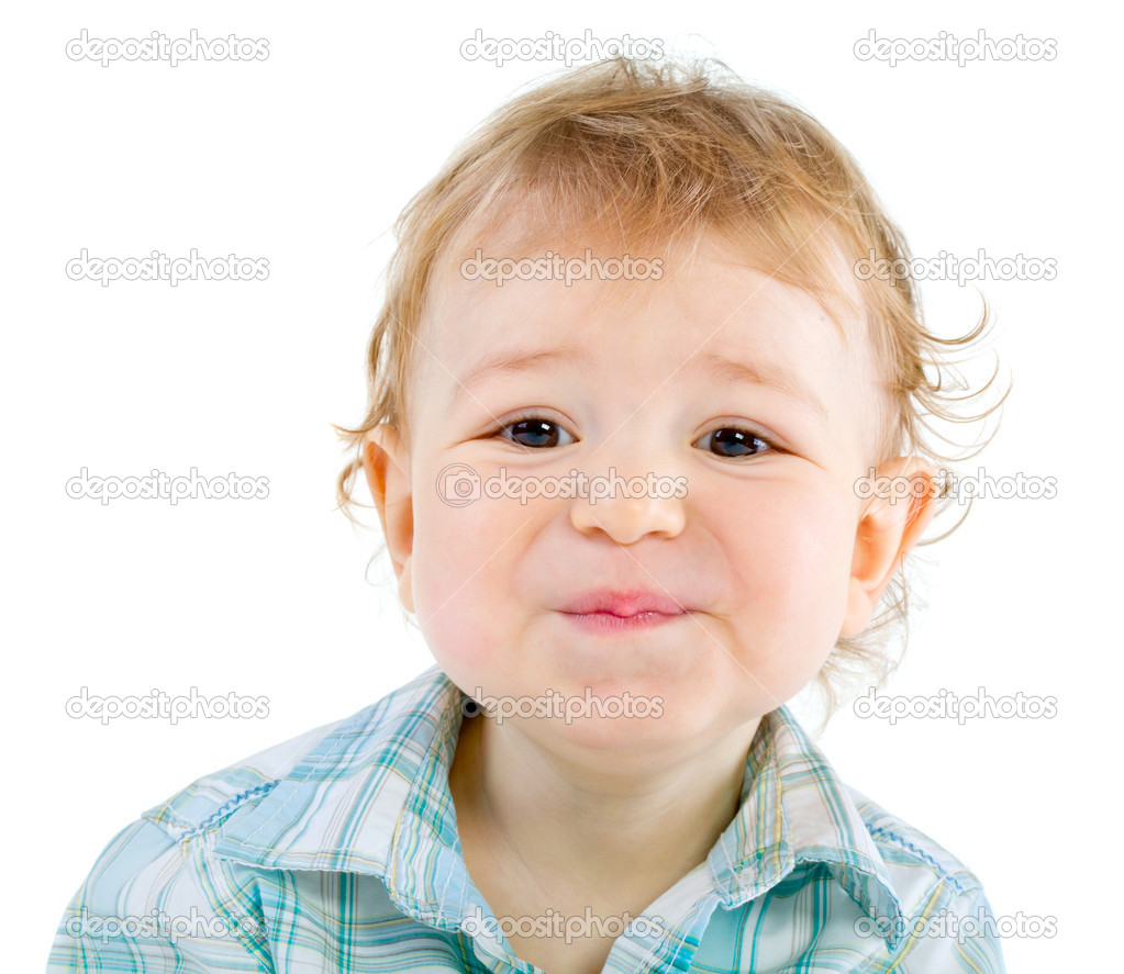 Emotion Happy Cute Baby Boy over white isolated — Stock Photo #4811115