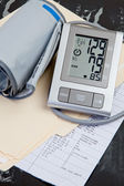 Medical Records & Blood Pressure Test — Stock Photo