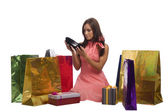 Young pretty woman with gifts — Stock Photo