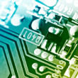 Electronic circuit board. Macro shot, toned. - Stock Photo