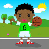 Kid playing basket — Stock Vector