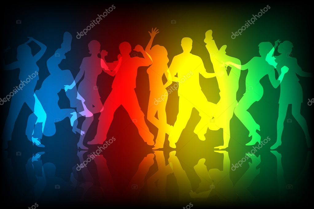 Dancing on colourful background — Stock Vector #5097170